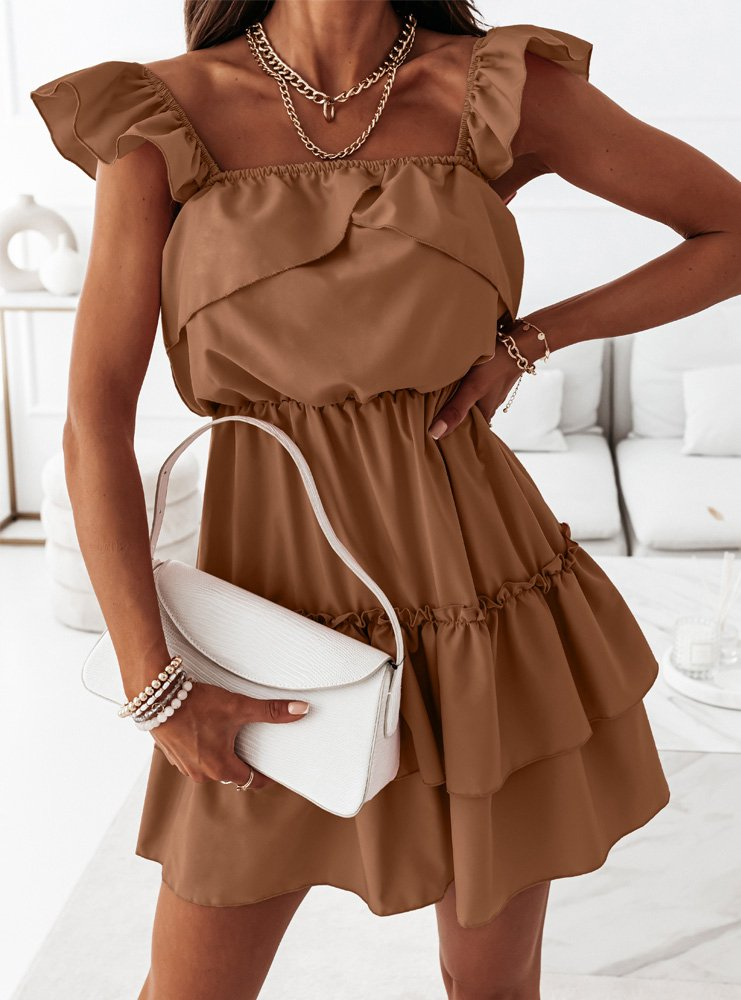 Karmelowa sukienka z falbankami Anneta