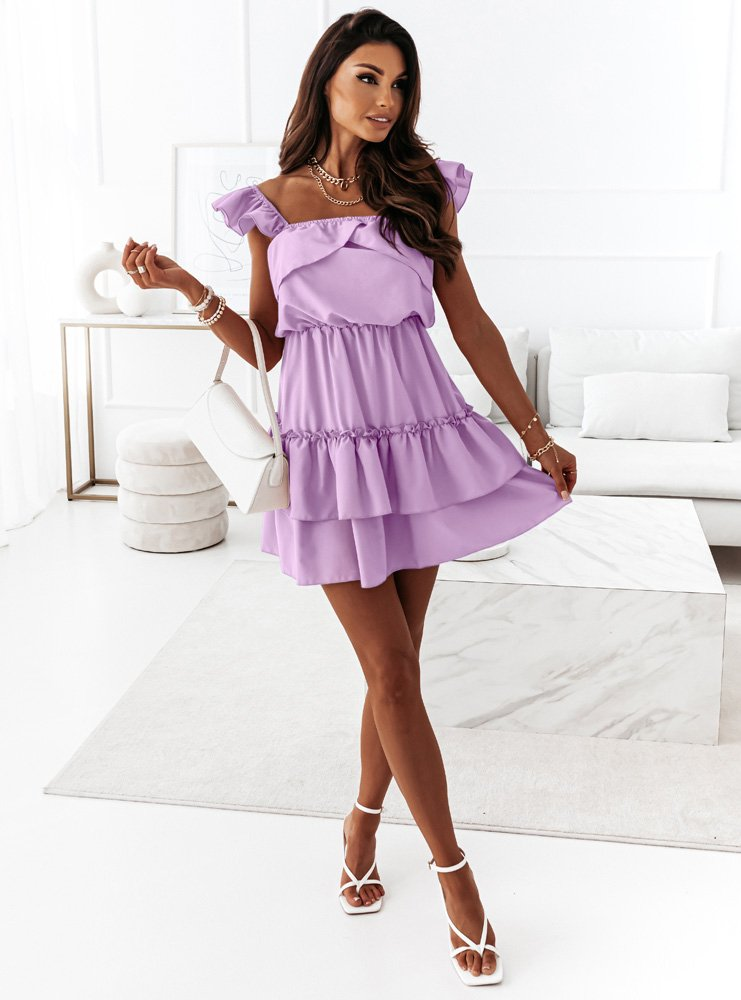 Liliowa sukienka z falbankami Anneta