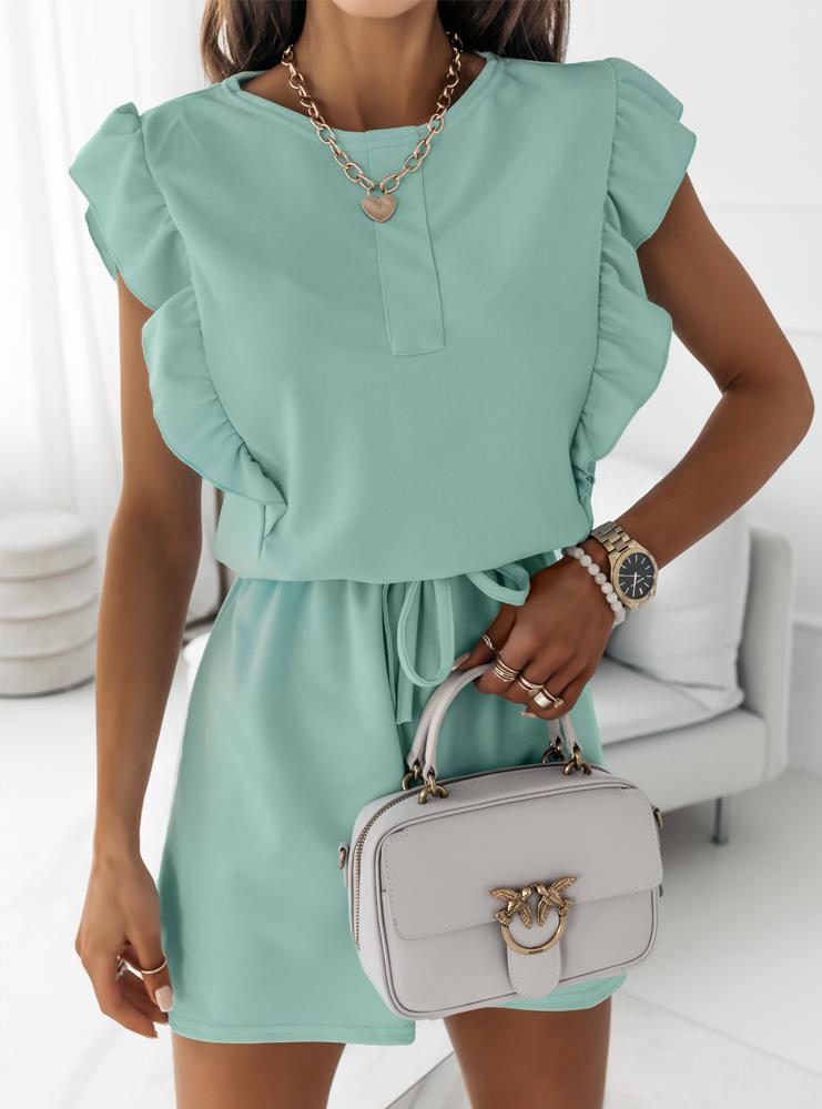 Miętowa sukienka typu szmizjerka Eviee