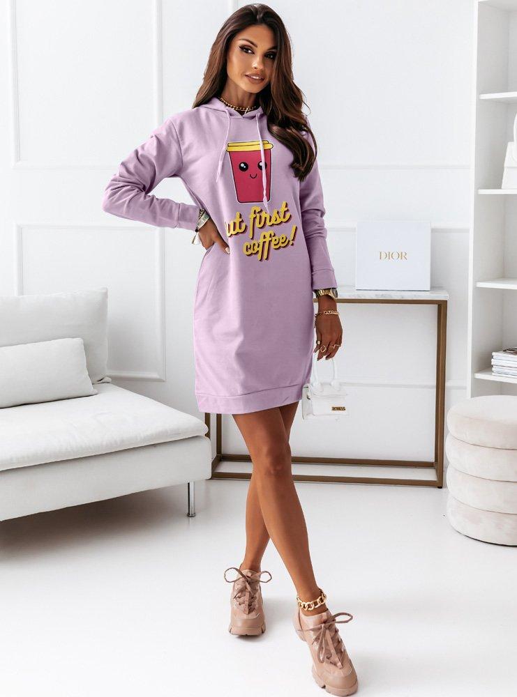 Liliowa sportowa sukienka z kapturem...