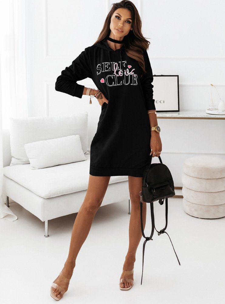 Czarna sportowa dresowa sukienka z...