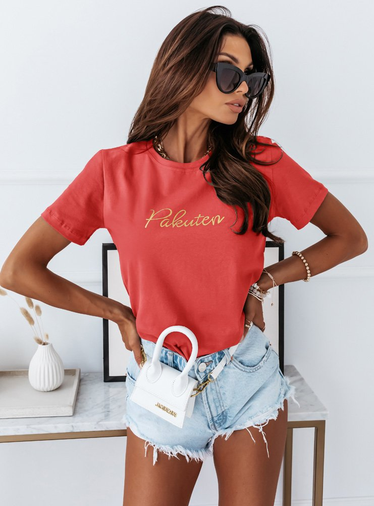 Koralowa logowana koszulka Marvel