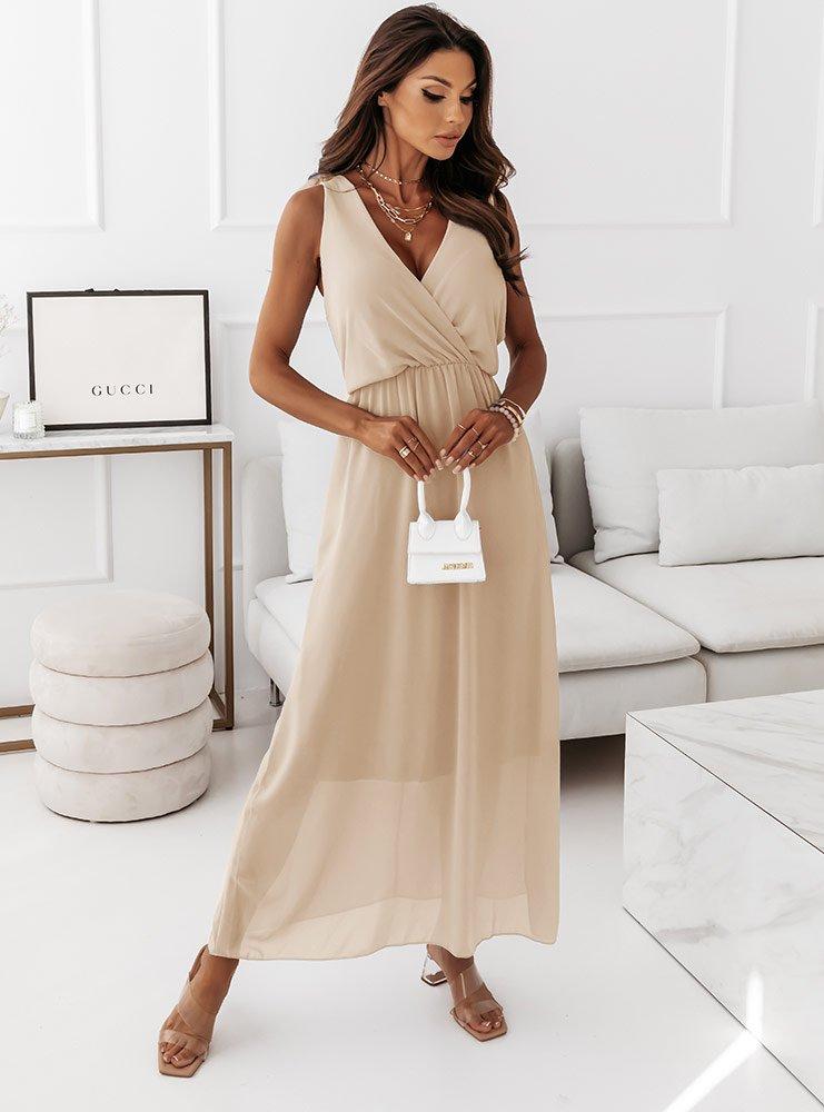 Beżowa sukienka maxi na ramiączkach...
