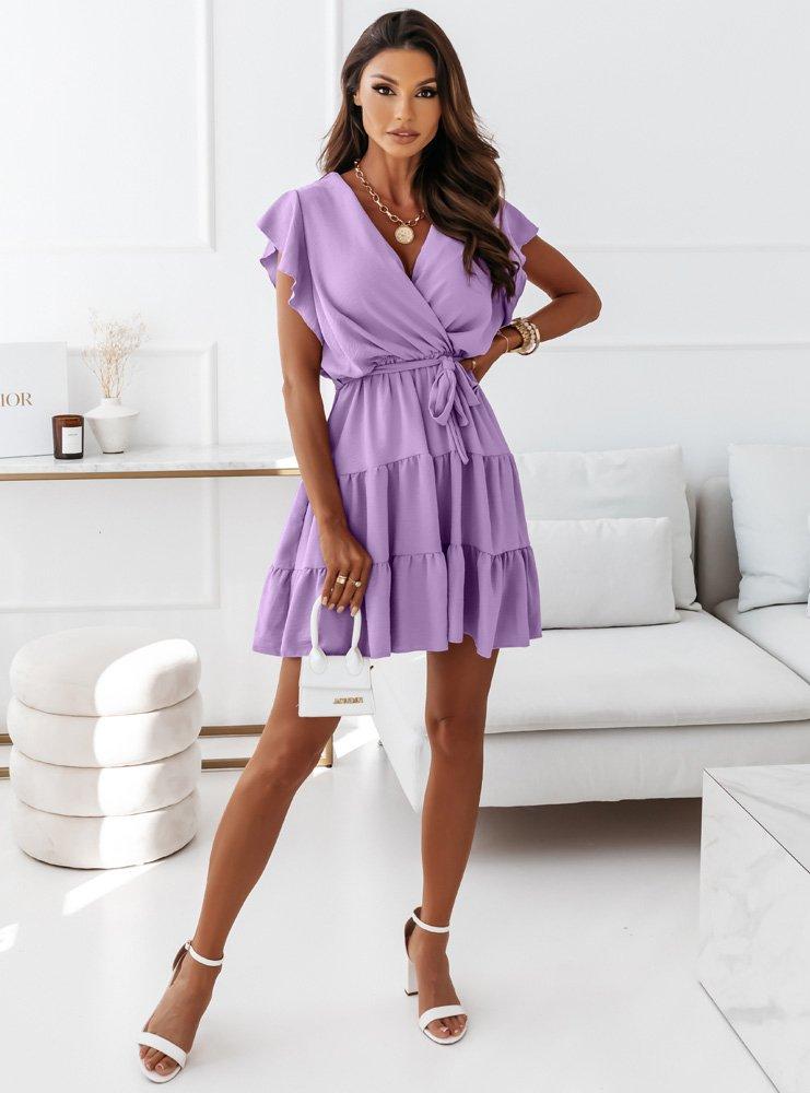 Liliowa sukienka z falbankami i...