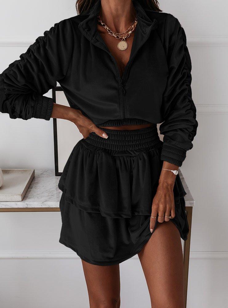 Czarny welurowy komplet bluza i...