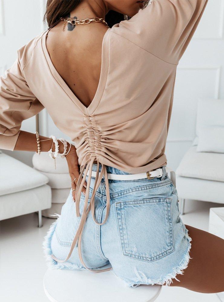 Beżowa bluzka z wiązaniem na plecach...