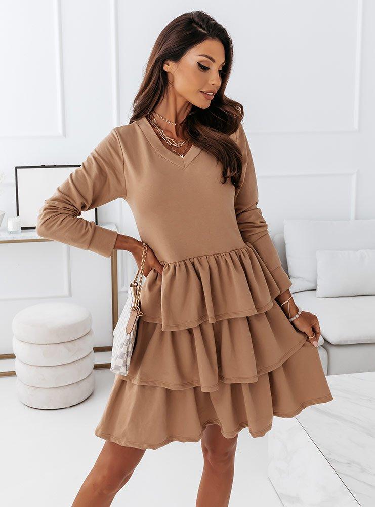 Beżowa sukienka z falbankami Gabirella