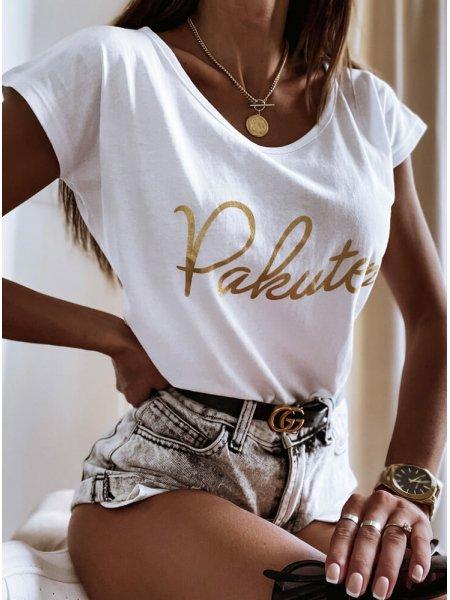 Biała koszulka ze złotym...