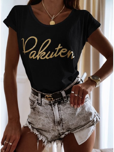 Czarna koszulka ze złotym...