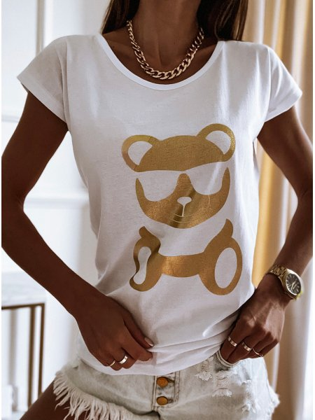 Biała koszulka z modnym...