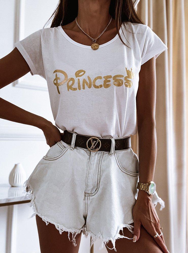 Biała koszulka z nadrukiem Rozalie