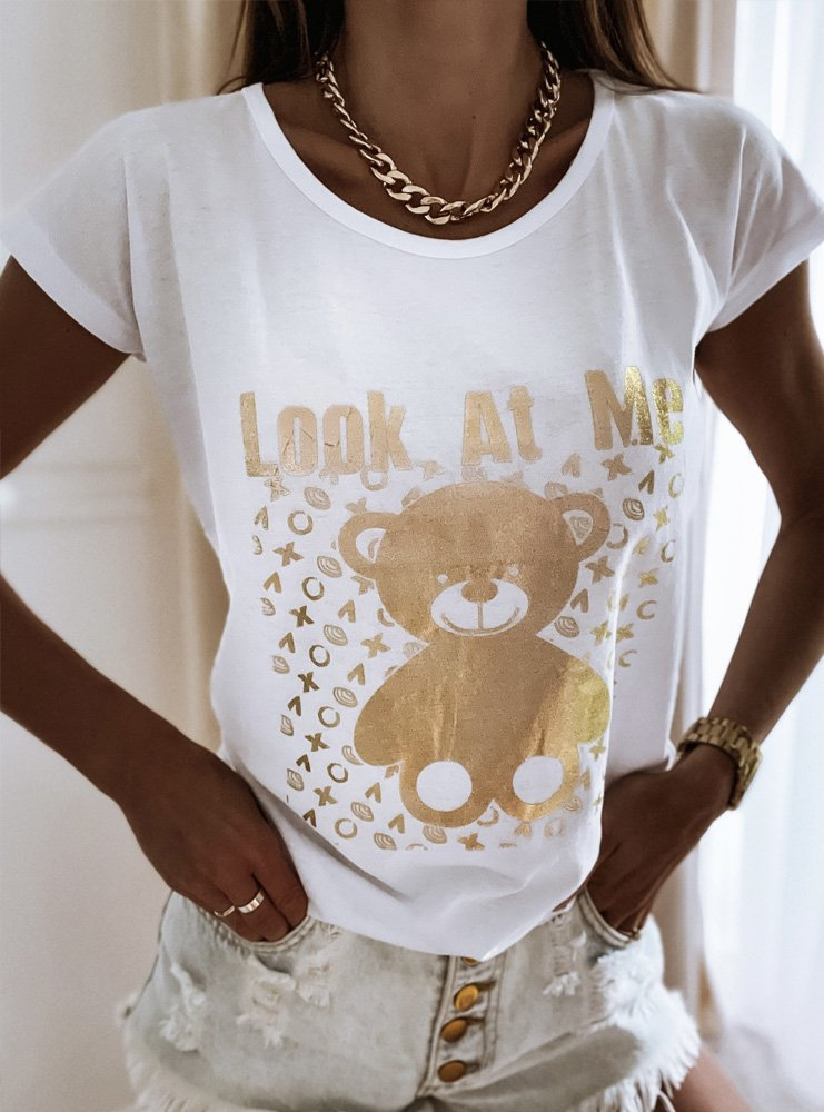 Biała koszulka ze złotym nadrukiem...