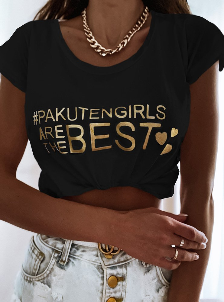 Czarna koszulka z nadrukiem Egelia