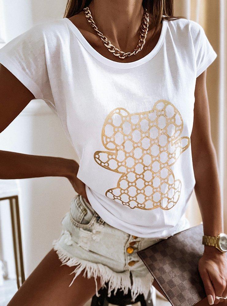 Biała koszulka z nadrukiem Tosiaa