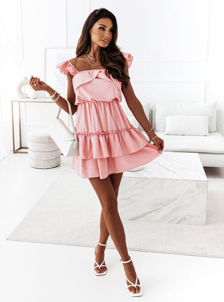 Pudrowa sukienka z falbankami Anneta