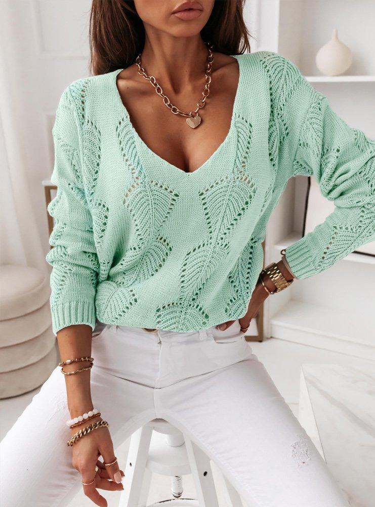 Miętowy ażurkowy sweterek Kendra