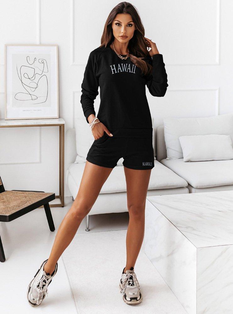 Czarny komplet dresowy z szortami Coundi