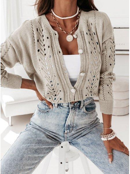 Beżowy ażurkowy sweterek...