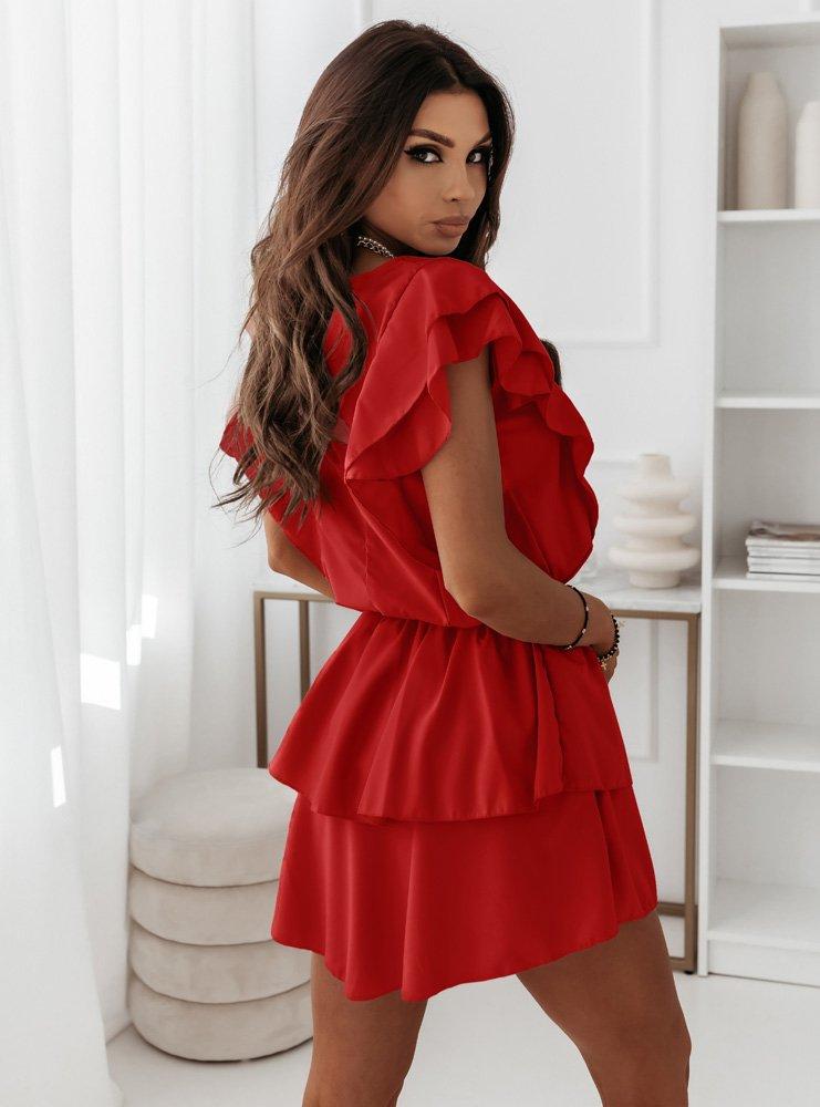 Malinowa sukienka z falbankami Solrunn