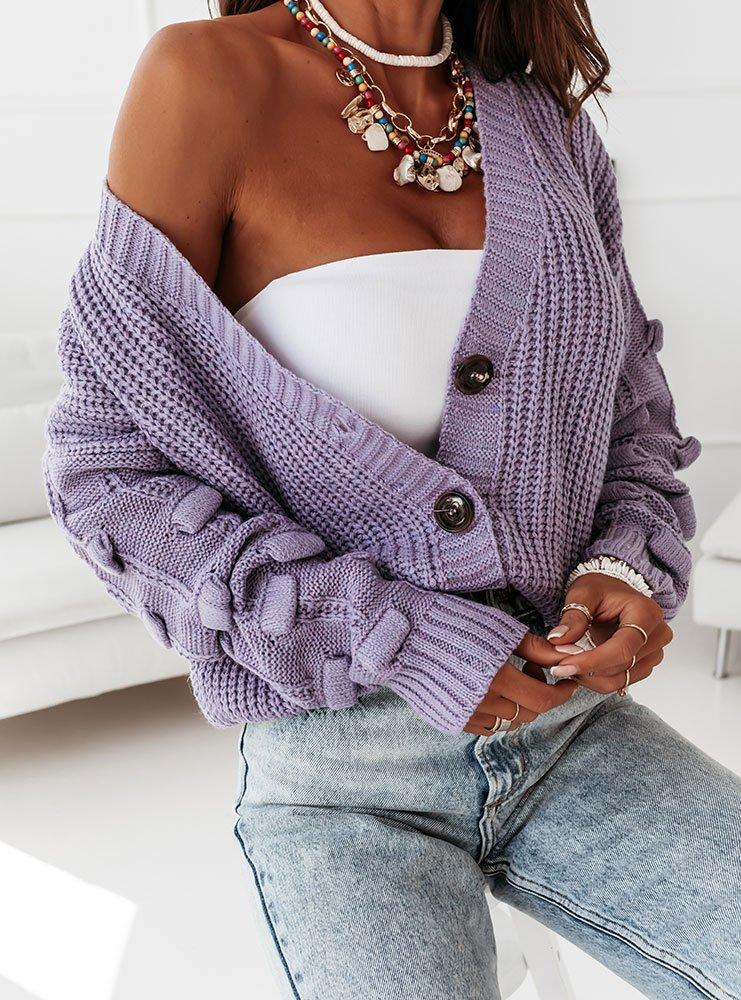 Liliowy sweterek z ozdobnymi rękawami Marikaa