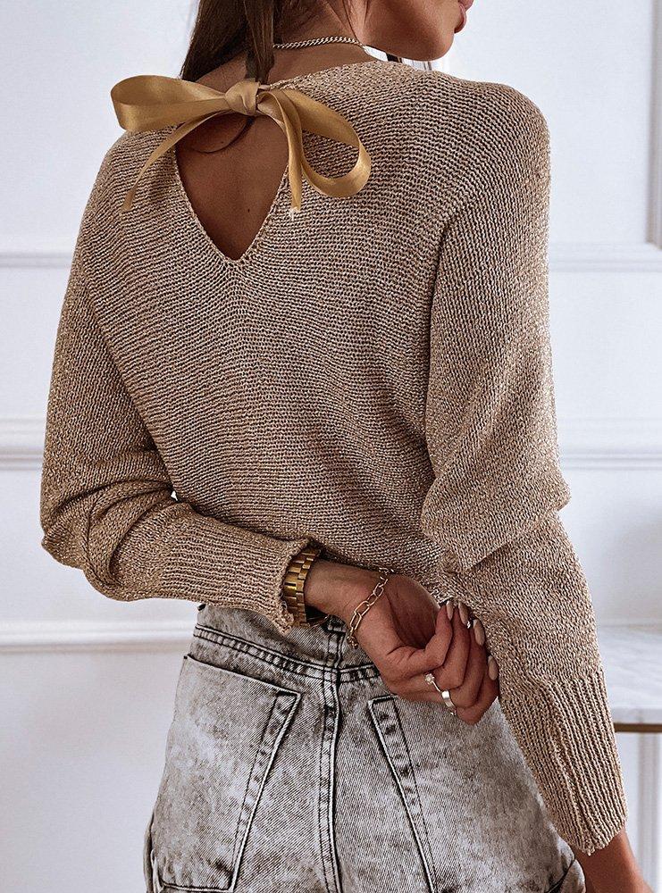 Złoty sweterek z ozdobną kokardką na plecach Weronikke