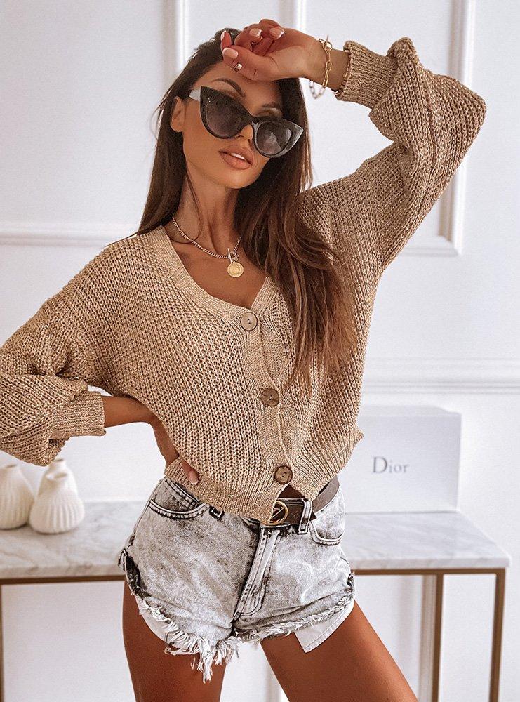 Złoty sweterek zapinany na guziki Lenkaa