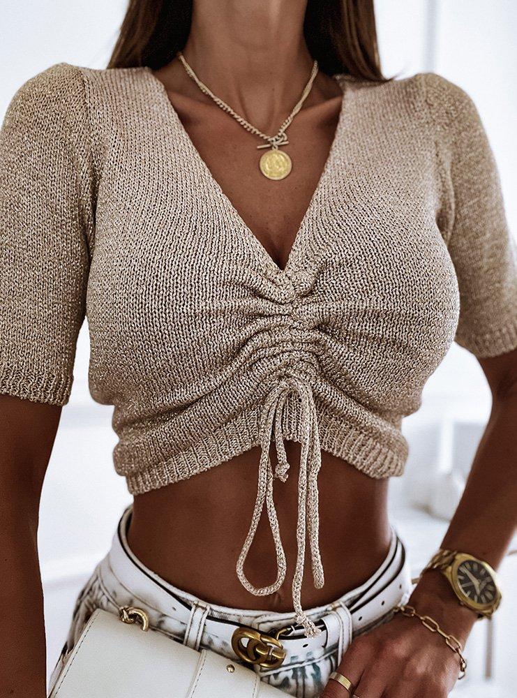 Złota bluzka ze ściągaczem Hamalika