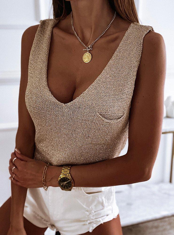 Złota bluzka z ozdobną kieszenią Kallina