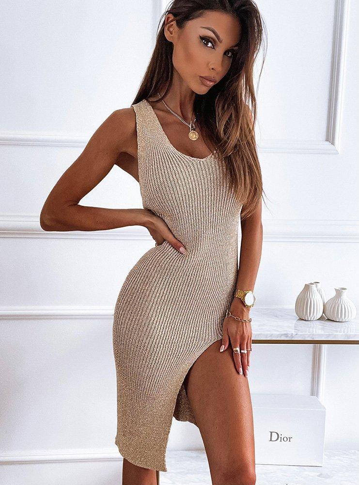 Złota sukienka z rozporkiem Kamille