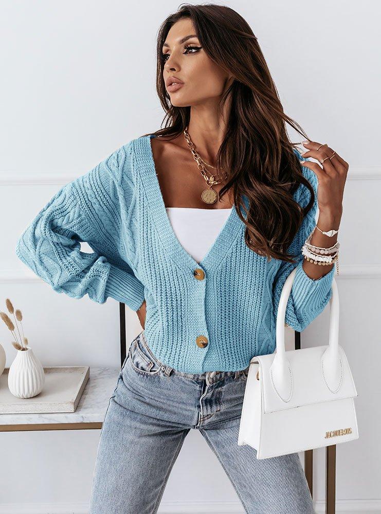 Niebieski sweterek zapinany na guziki...