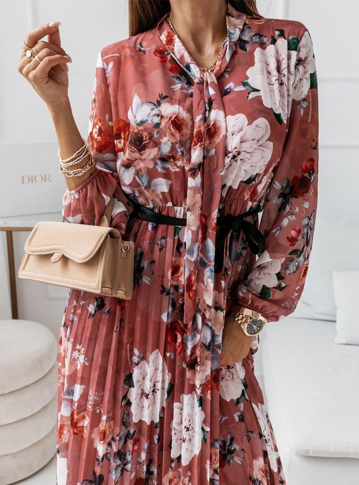 Plisowana sukienka w kwiatki z...