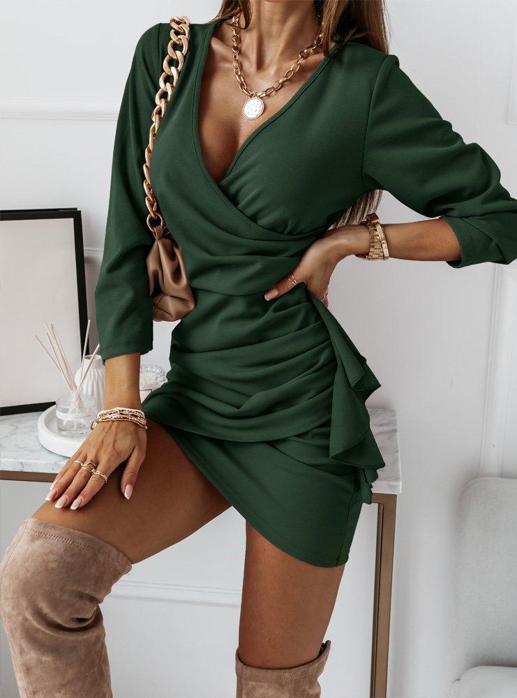 Przekładana sukienka z falbaną Renae...