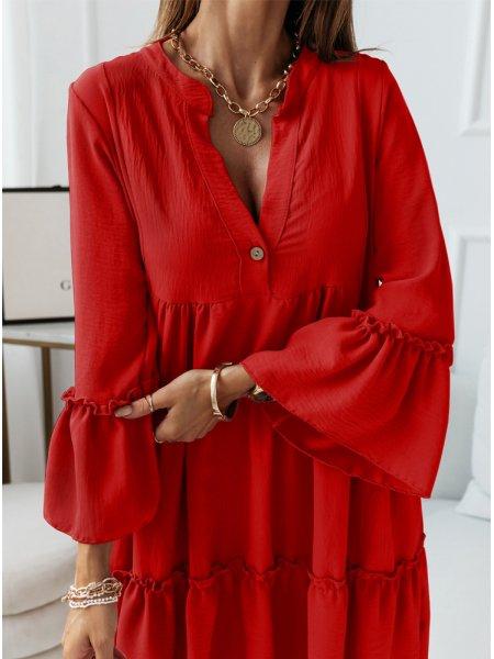 Czerwona trapezowa sukienka...