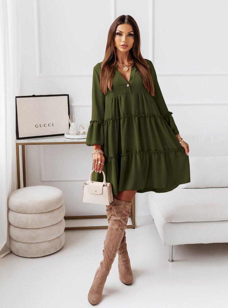 Trapezowa sukienka z falbankami Neli - khaki
