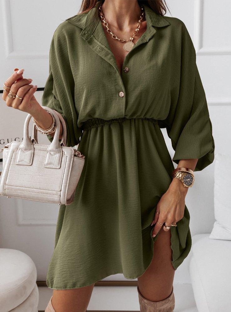 Sukienka typu szmizjerka z gumką w pasie Zonnia - khaki