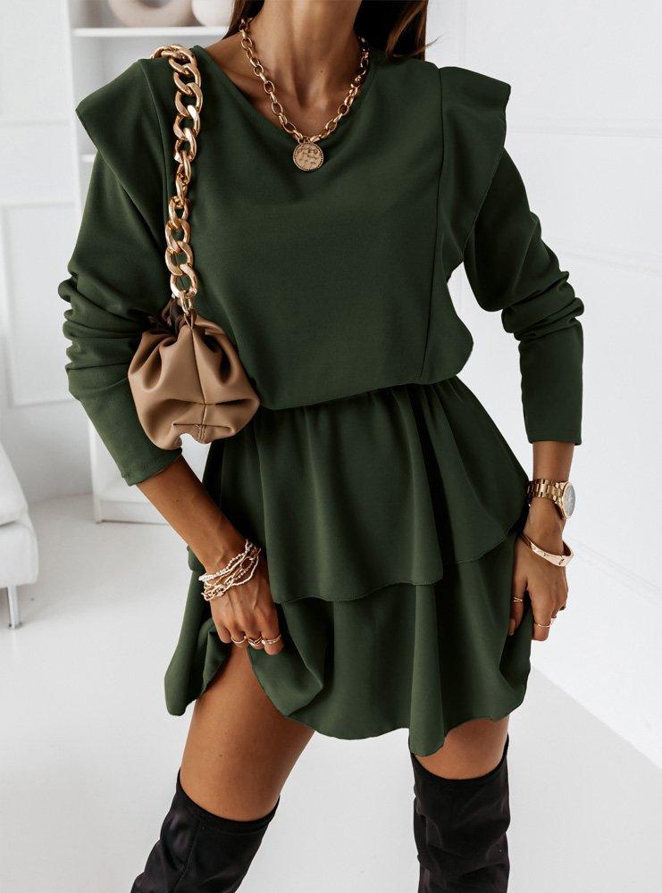 Sukienka z falbanką Tamie - butelkowa zieleń