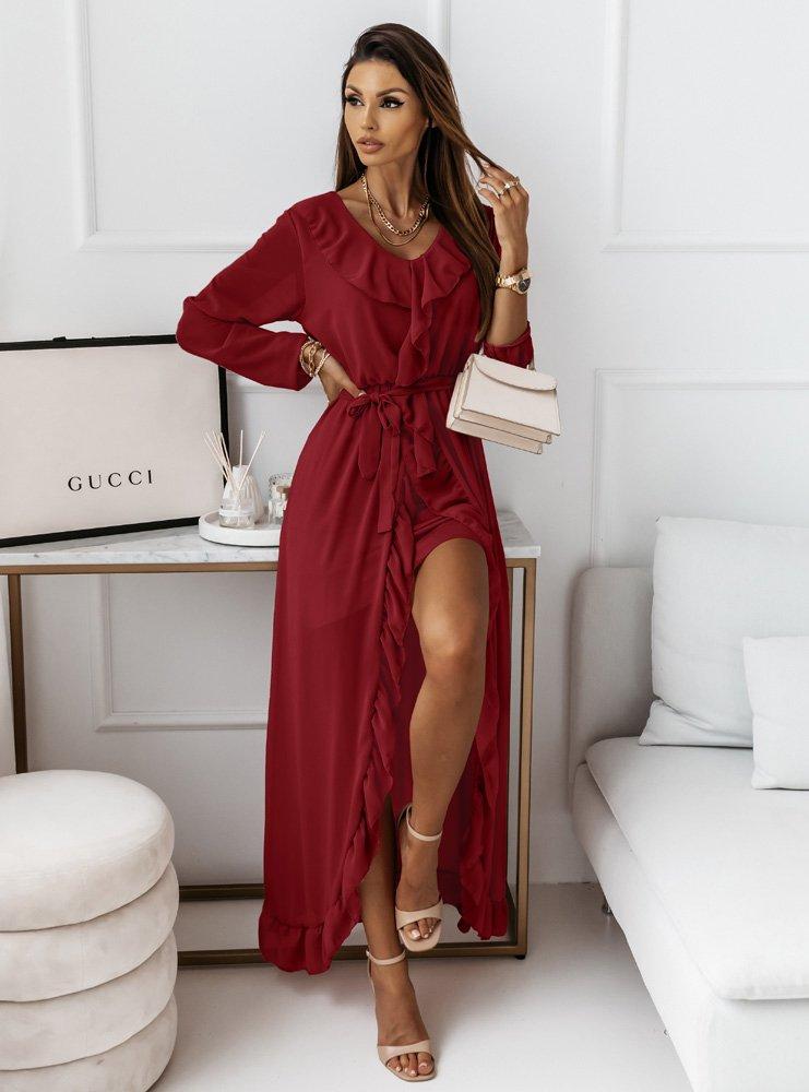 Bordowa długa sukienka z falbanami...