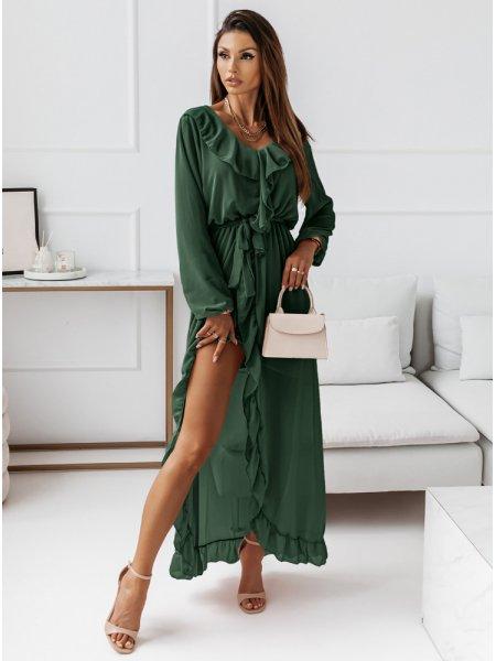 Długa sukienka z falbanami...