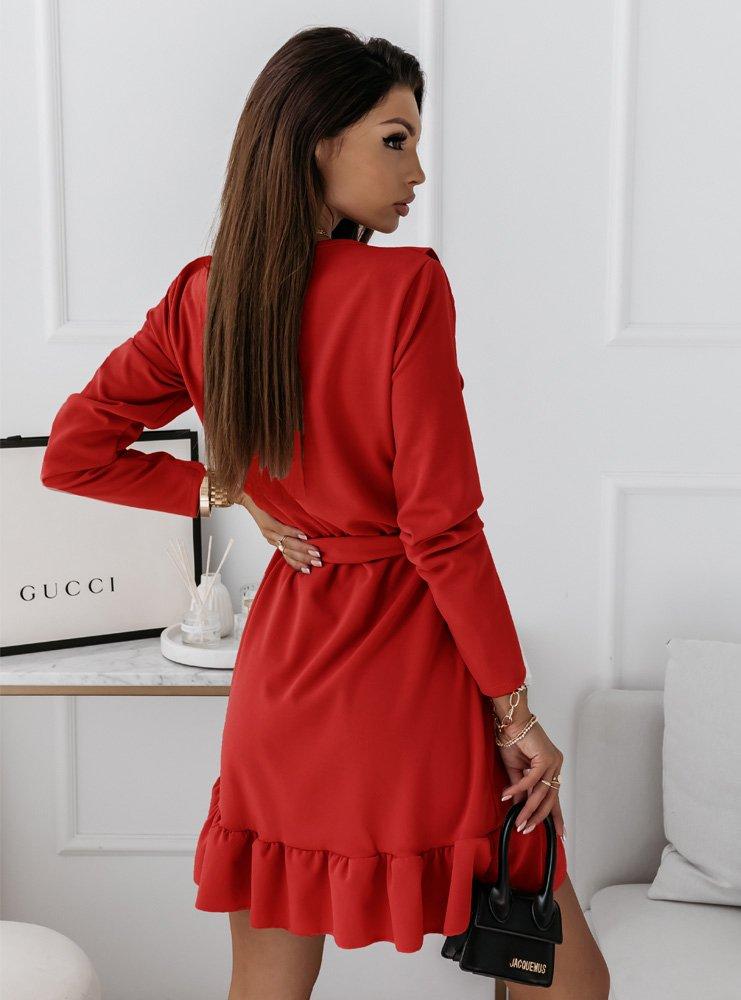 Malinowa sukienka z falbankami Molia
