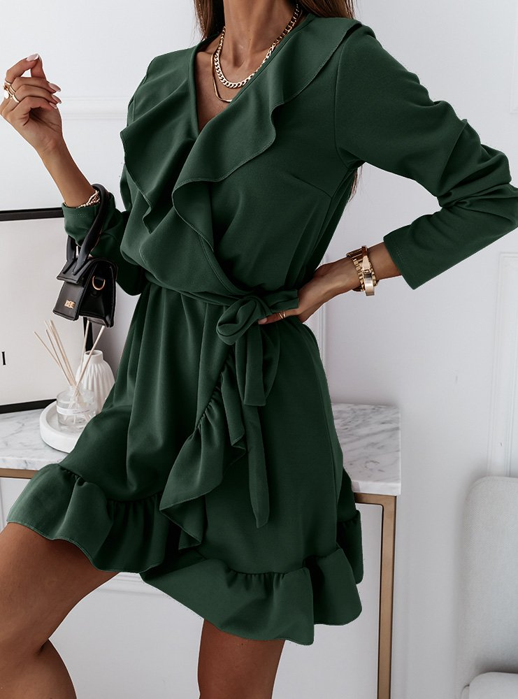 Sukienka z falbankami Molia - butelkowa zieleń
