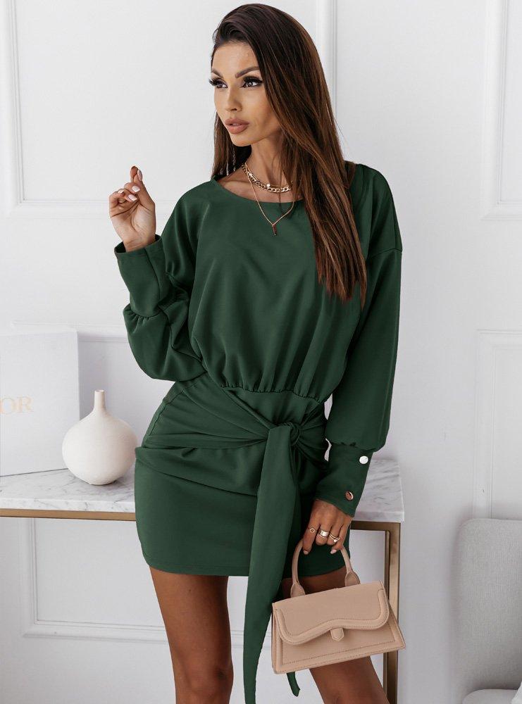 Sukienka z wiązaniem Sunija - butelkowa zieleń