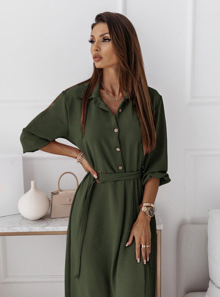 Plisowana sukienka z paskiem Alreta - khaki