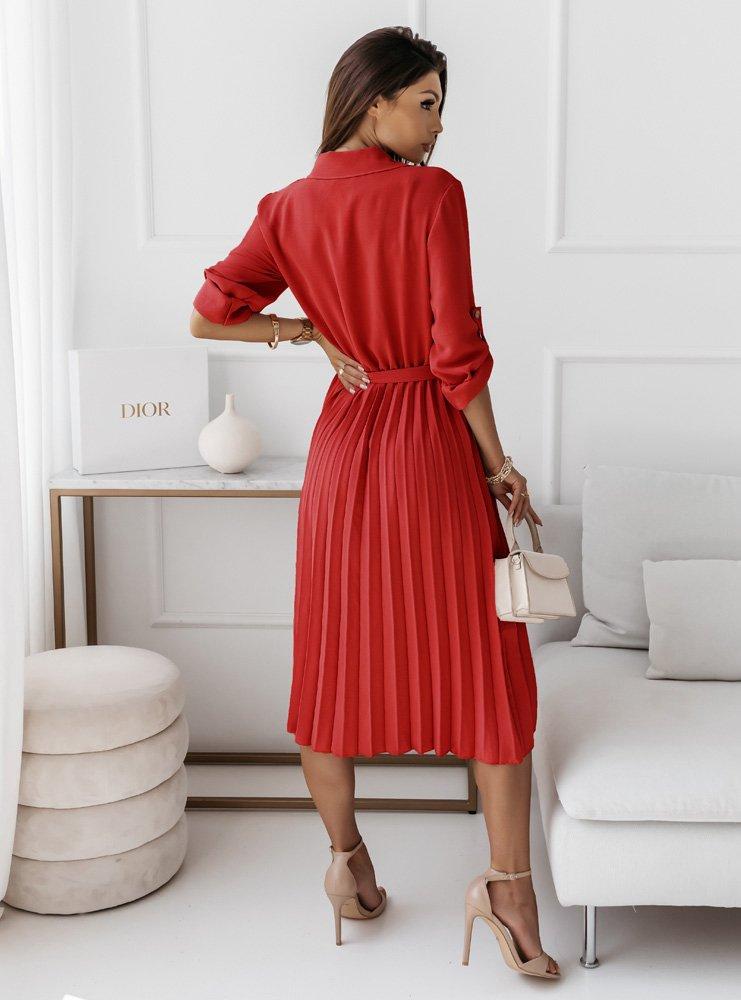 Malinowa plisowana sukienka z...