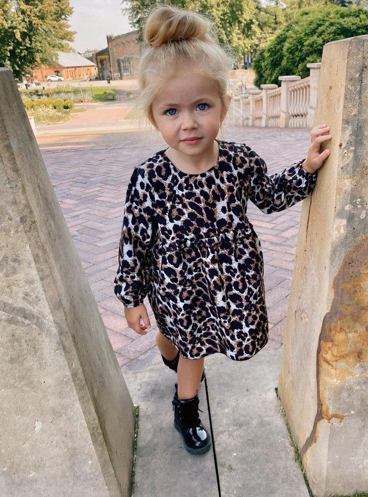 Dziewczęca sukienka w panterkę z...