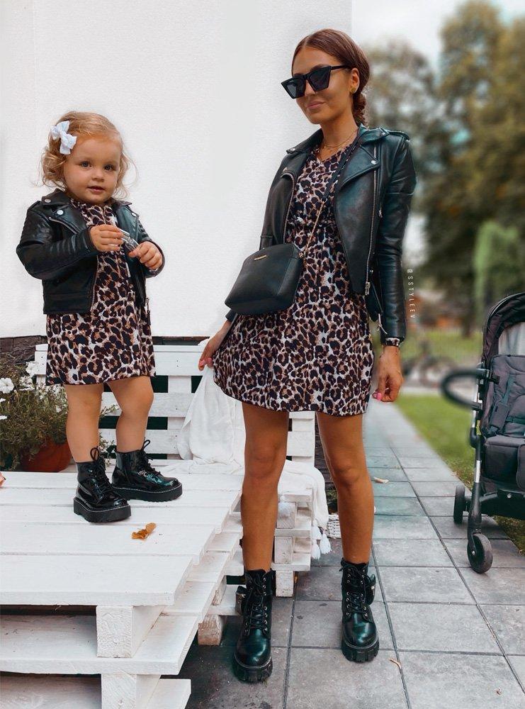 Zestaw sukienka w panterkę z falbanką mama i córka Lemia