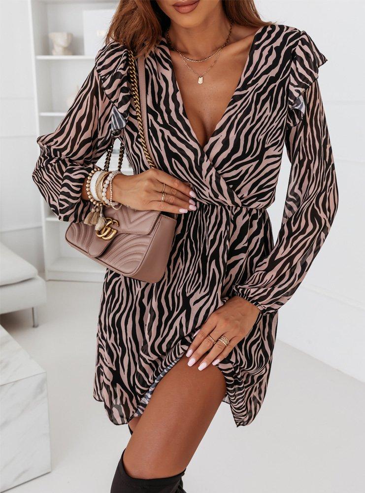 Sukienka w zeberke z falbankami na ramionach Lavita - wzór 1