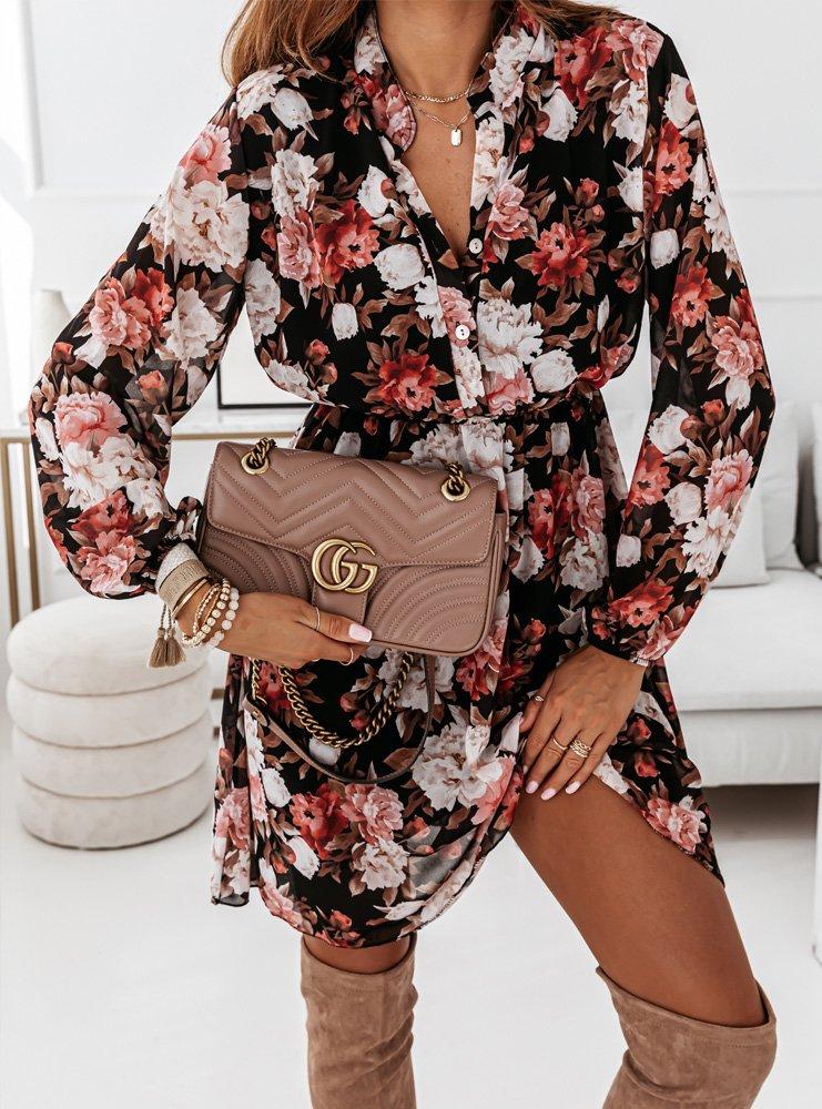 Wzorzysta sukienka w kwiaty Tanzi -...