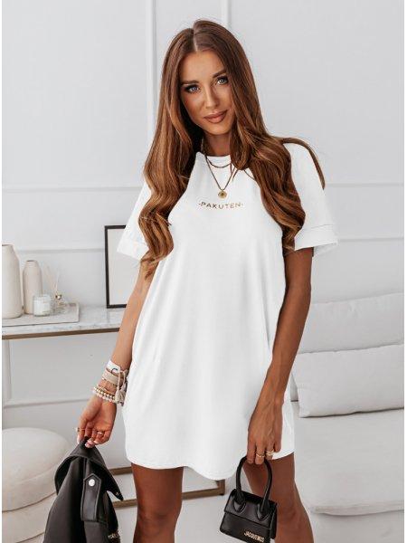 Biała logowana sukienka...