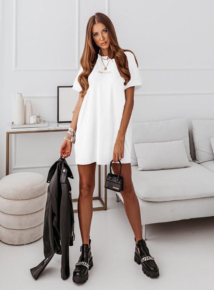 Biała logowana sukienka Bamilia