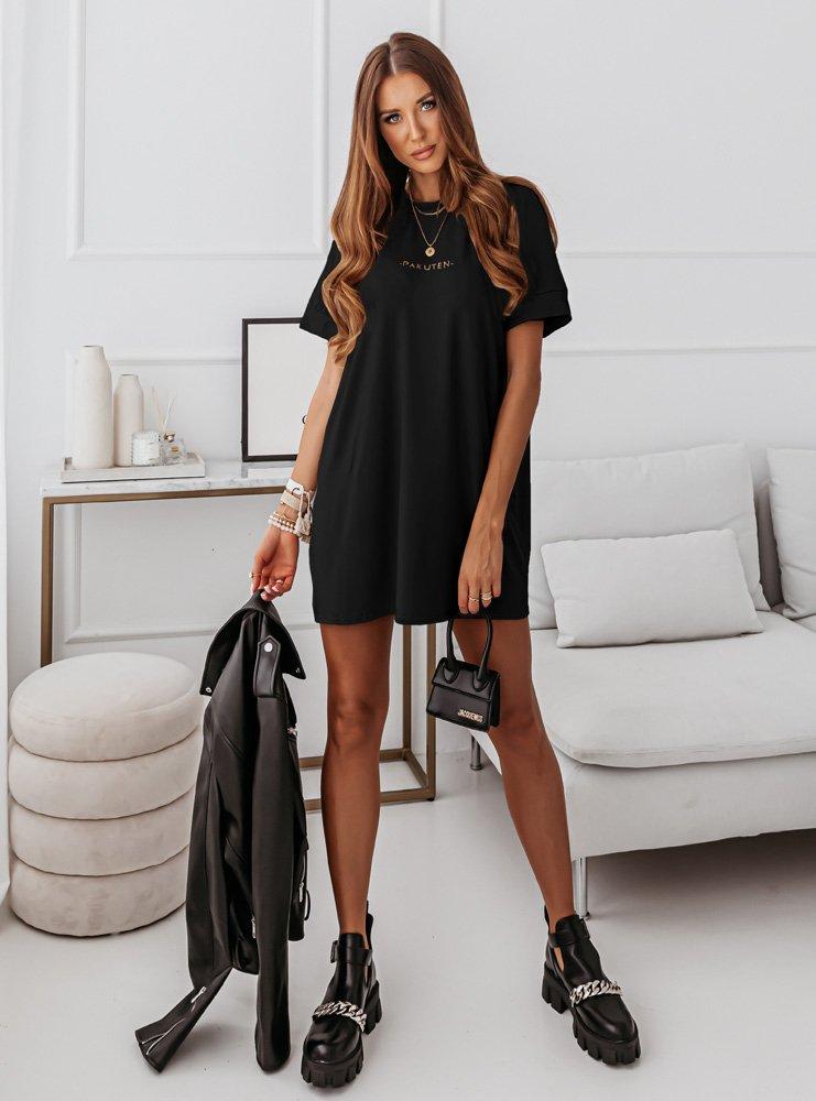 Czarna logowana sukienka Bamilia